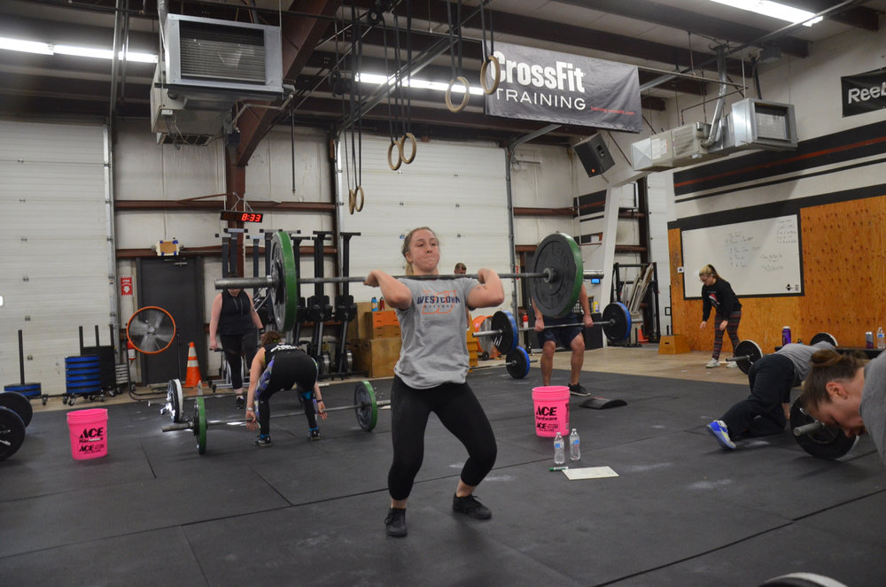 Annie showing great elbows on her Power Cleans.
