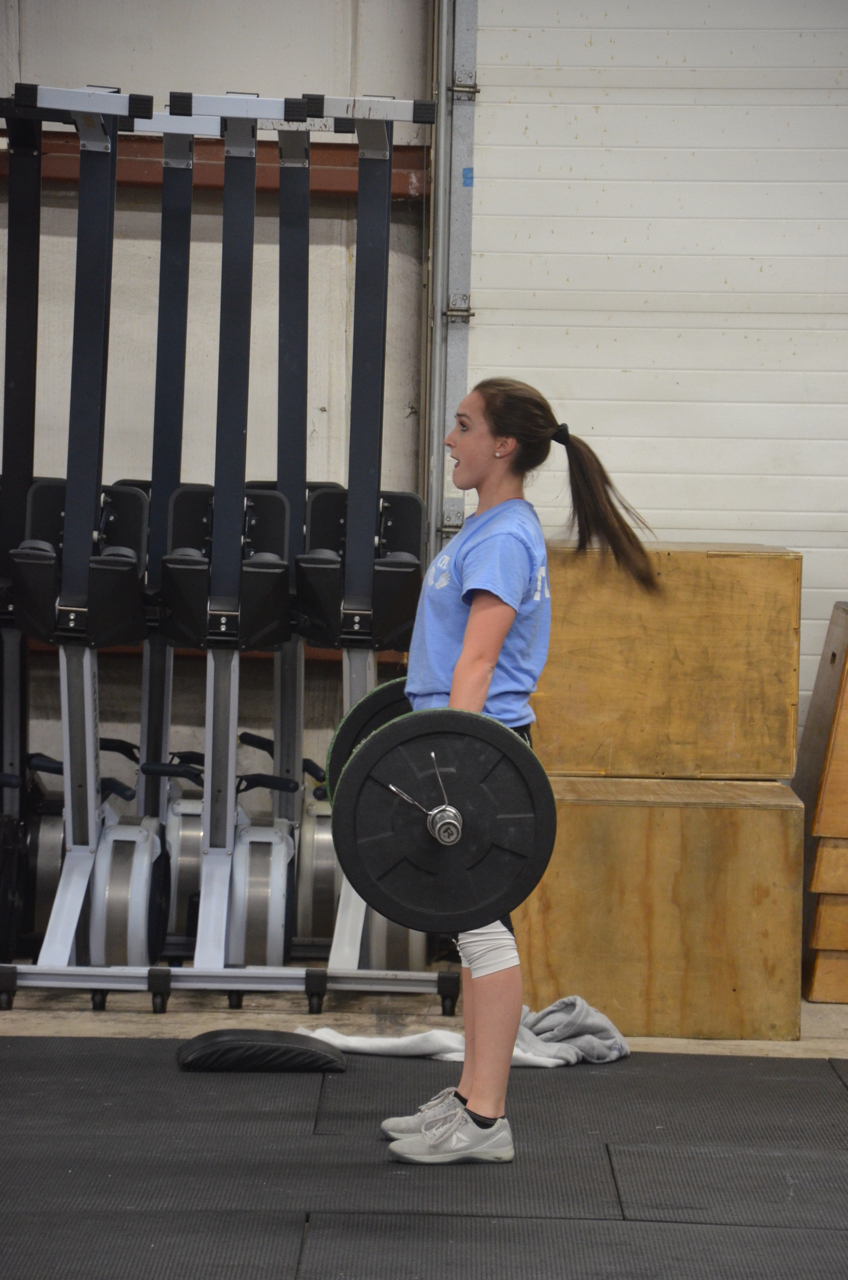 Aileen standing tall at the top of her Deadlift.