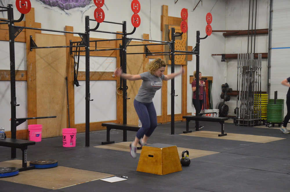 Stacy showing ups on her Box Jumps Overs.