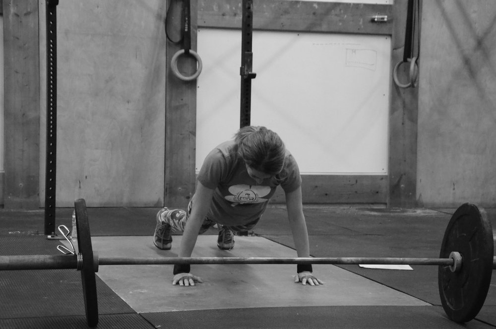 Danielle staying tight during her 10 Push-ups.