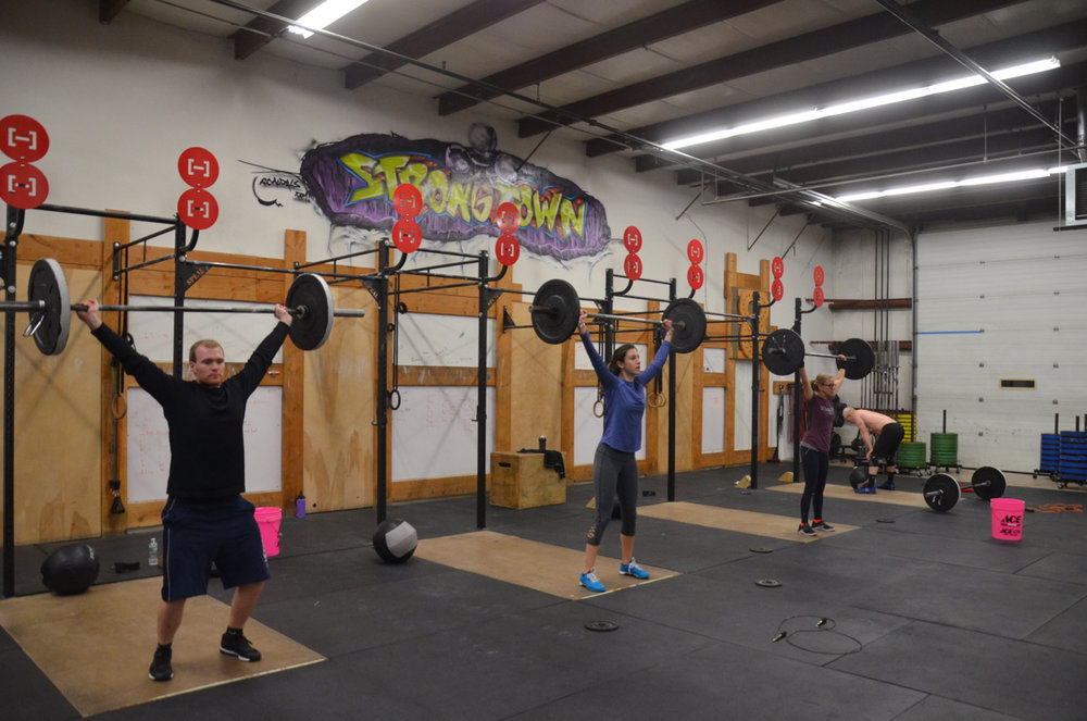Ryan, Jess and Paula working through their 15 Power Snatch.