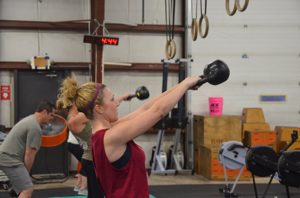 Stacy showing good form on her Russian Kettlebell Swings.