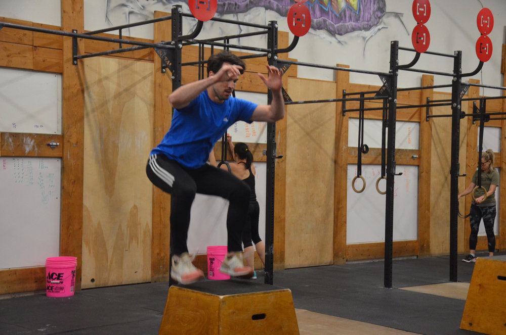 Angel flying through his box jumps.