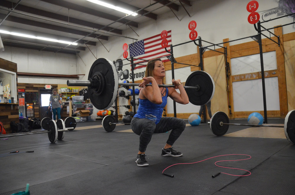 Ang staying focused through her front squats.