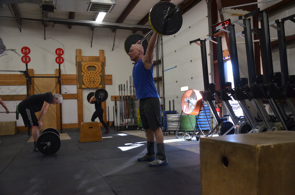 Paul working through Sunday's barbell complex.
