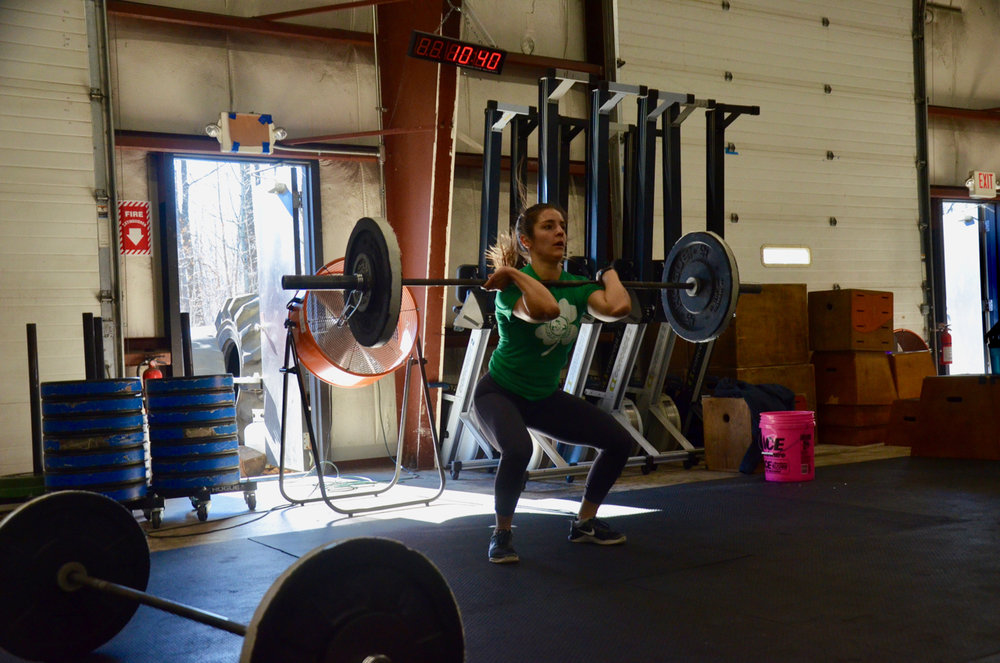 Kat working through Saturday's hang squat cleans.