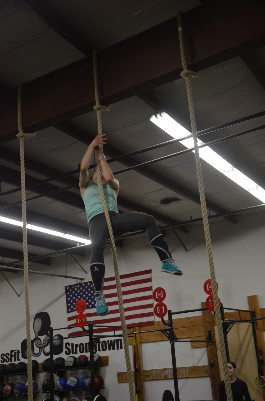 Kate going legless for today's rope climbs.
