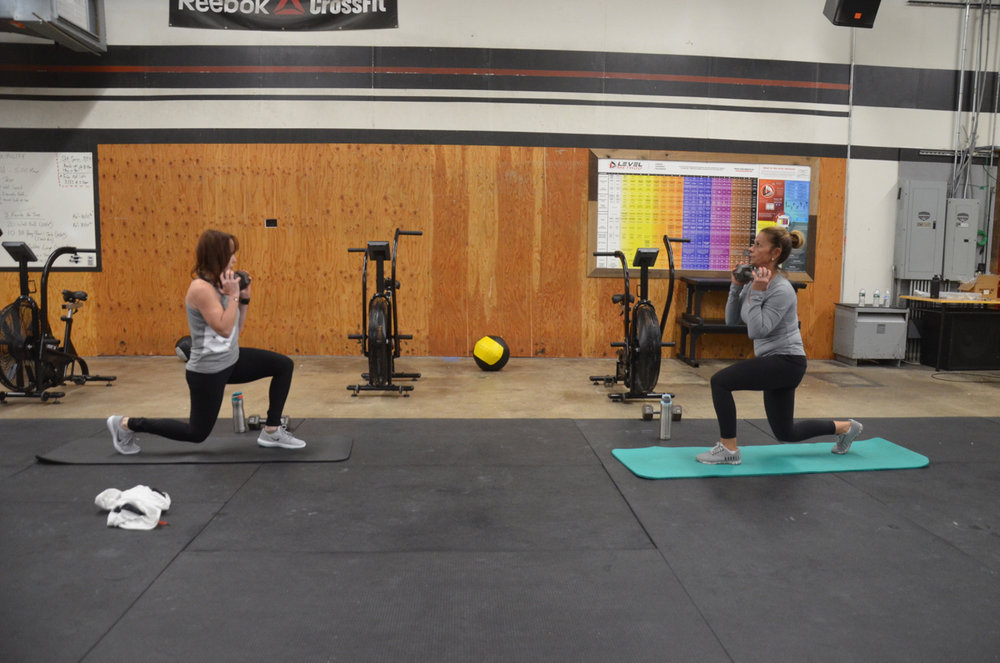 Shannon and Celia going head to head on their goblet lunges.