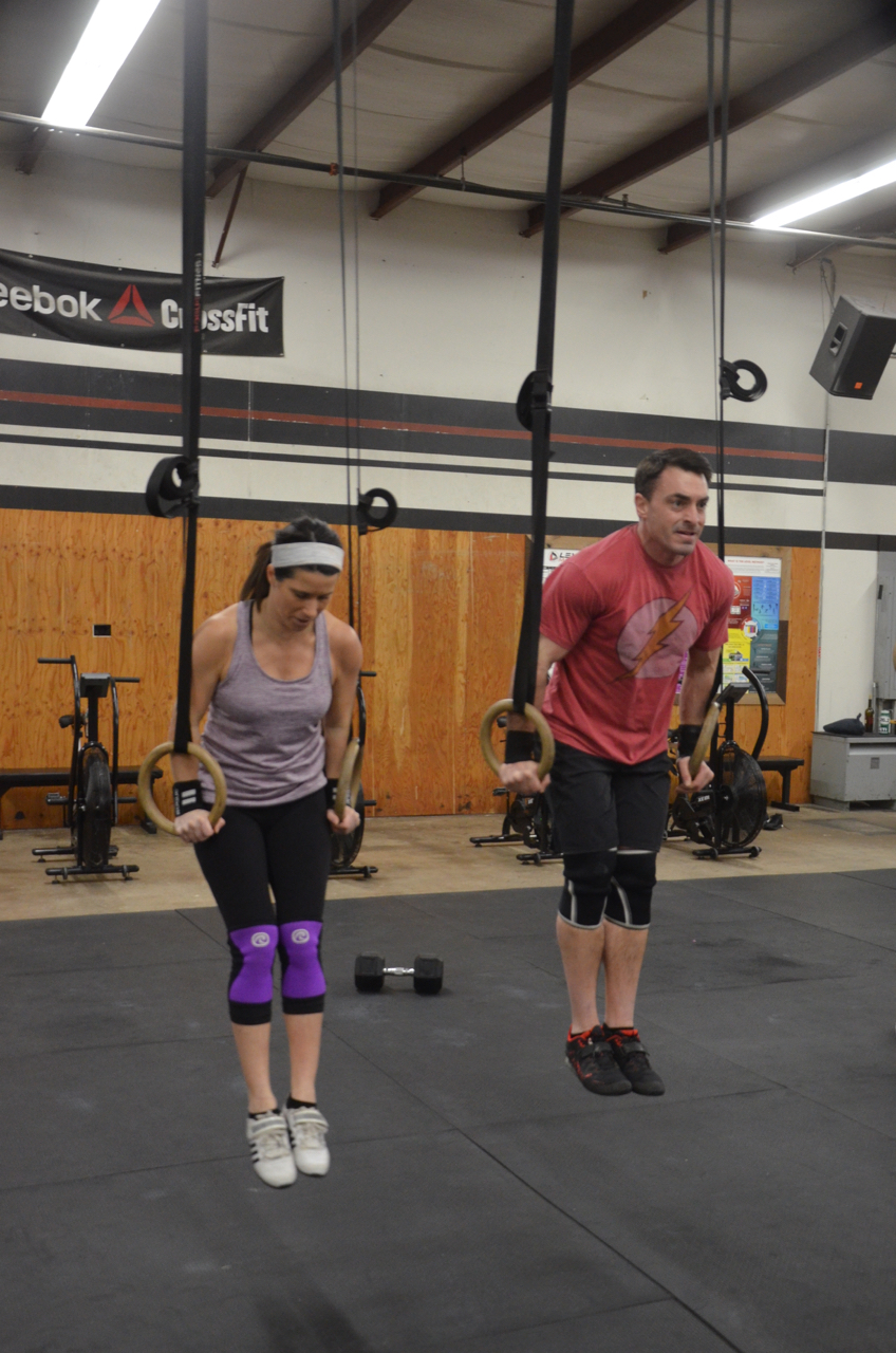 Jen and Brian working through their 20 ring dips.