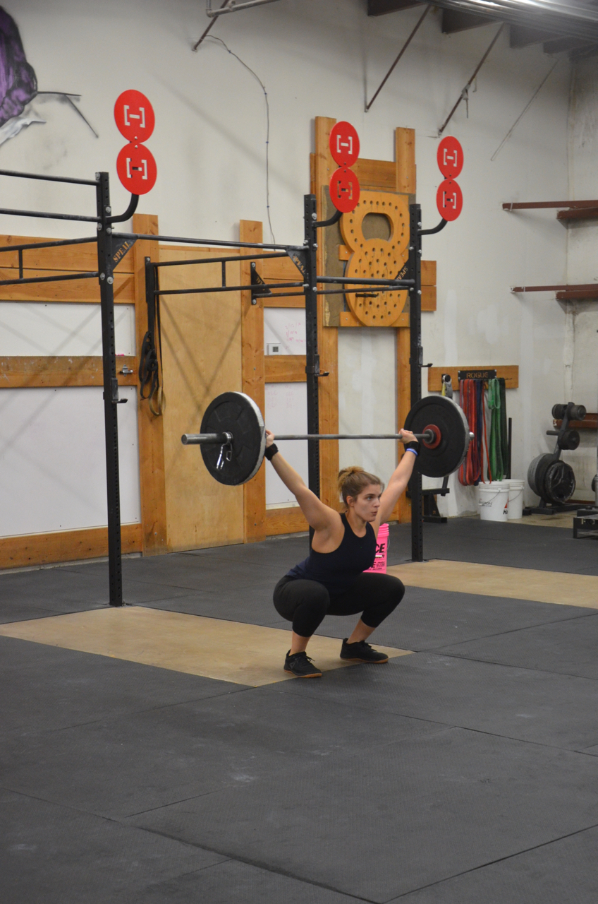 Amanda showing nice depth and lockout on her overhead squats.