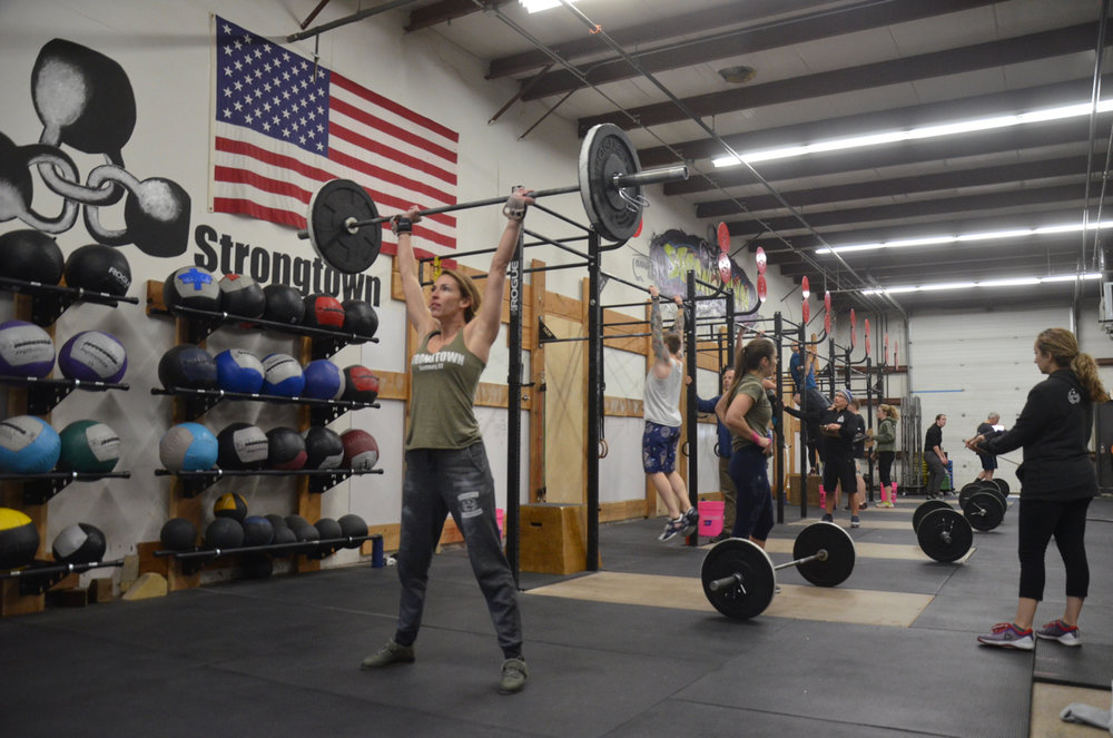 Danielle staying focused during her 33 Thrusters.