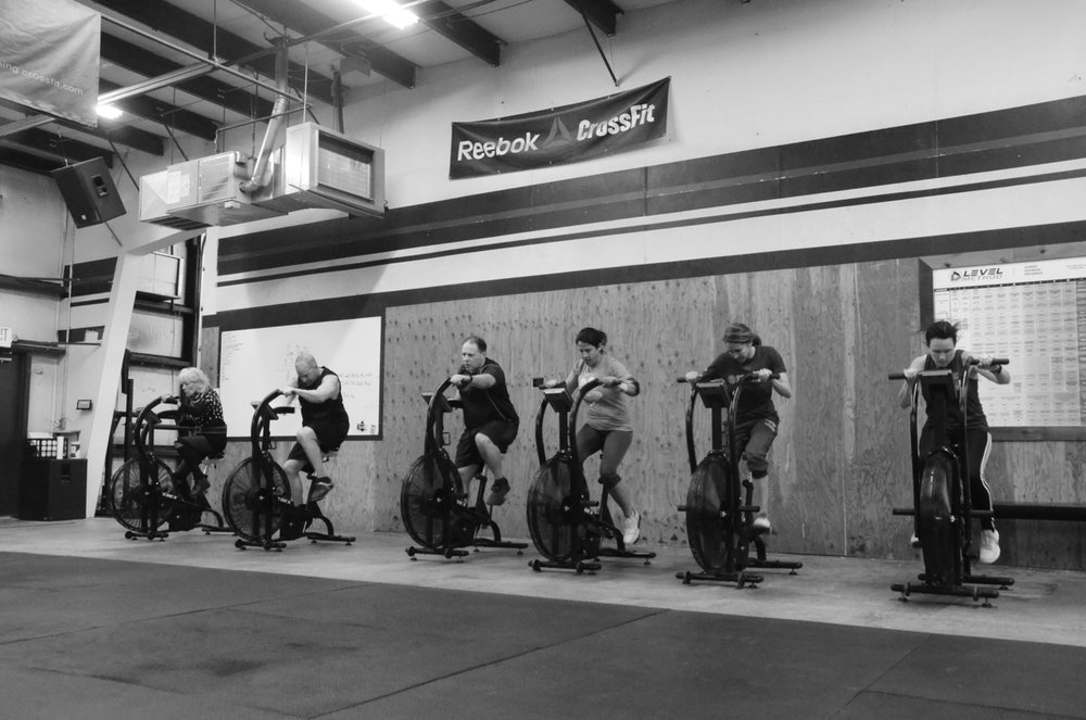 The Noon class at the start of the 8 minute AMRAP.