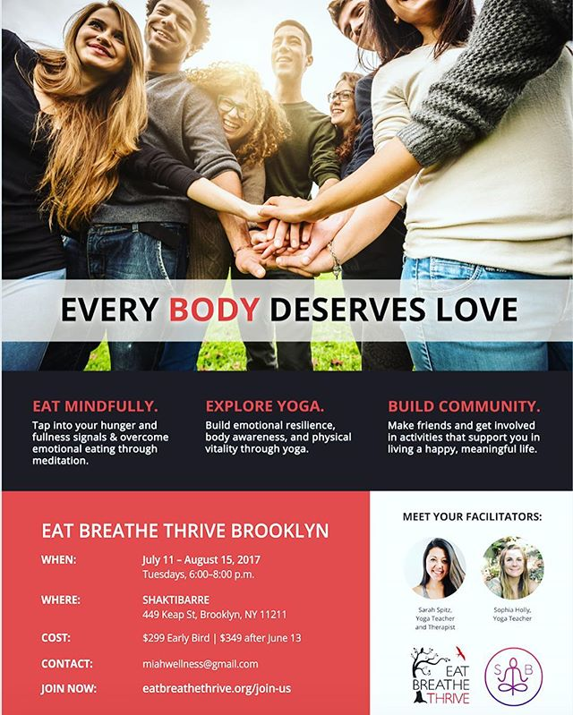 💕☀️@bodybeautifulyoga and I are sooo excited for our next @eatbreathethrive series this summer!! ☀️💕 Tuesday's from 6-8pm July 11 - August 16 at @shaktibarre! Message or email me with any questions! First step is to apply online ✔️ • • • #yoga #yogaeverydamnday #yogateacher #selflove #community #edrecovery #healing #support #selfcare #mindfulness #mindfuleatung #bodypositiveyoga #bkyoga #williamsburg #mindfulmovement #energy #yogabk #meditation