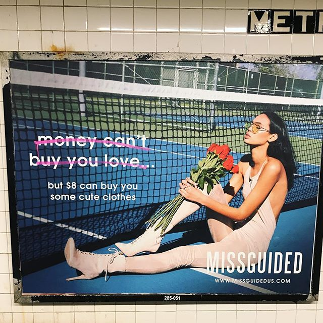 "Hmmm definitely #missguided...even though they are saying ""money can't buy you love"" isn't the message still the same? In the @eatbreathethrive program, we talk about the messages that are given to us by society: only if we look a certain way, have certain things, etc are we worthy of love. And these messages are so powerful it's hard to believe otherwise. Join me and @bodybeautifulyoga this summer @shaktibarre so we can support one another in this journey ❤️❤️ #linkinbio to sign up"