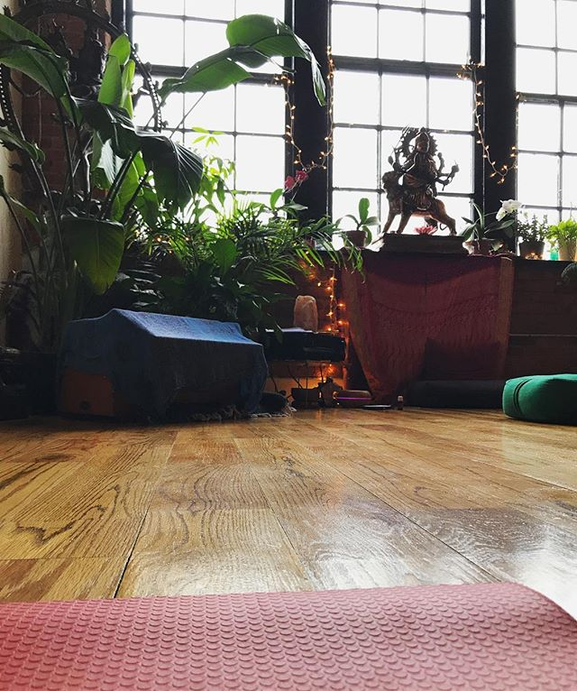 Feeling so much G R A T I T U D E for getting to practice in this beautiful space, led by the wonderful @bodybeautifulyoga on this rainy day 🙏 (and speaking of #gratitude, join me and @apetersel at @shaktibarre on June 10th for our yoga and writing workshop! #linkinbio to sign up)