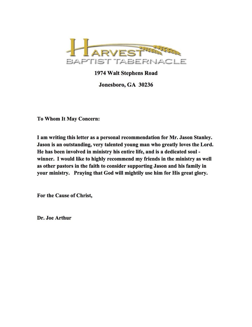 Bro. Joe Arthur's Recommendation Letter.jpg