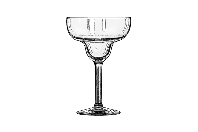 Margarita glass  A variant of the classic champagne coupe, the unique shape of the Margarita glass is reminiscent of an upturned sombrero. The rim is often coated with salt and lime juice to enhance the flavour of the famous tequila-based drink.