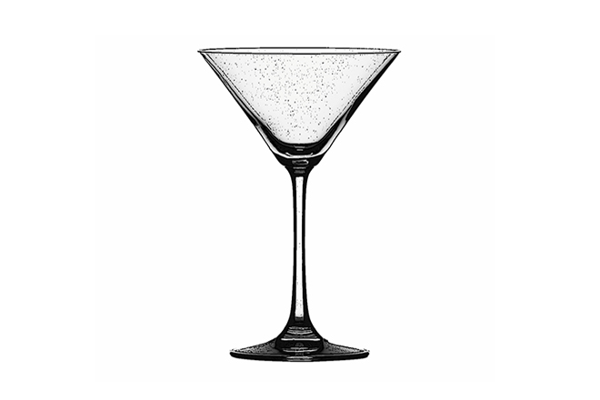 Martini Glass Any stemmed glass with an inverted cone bowl may be referred to as a Martini glass, but if you want to be pedantic about it, a Martini glass has specific properties such as a wider rim and a fully-conical bowl. If the bowl is flat at the bottom, then what you're holding is simply a 'cocktail' glass. No excuses now. Try it with our fabulous Pink Mootini.
