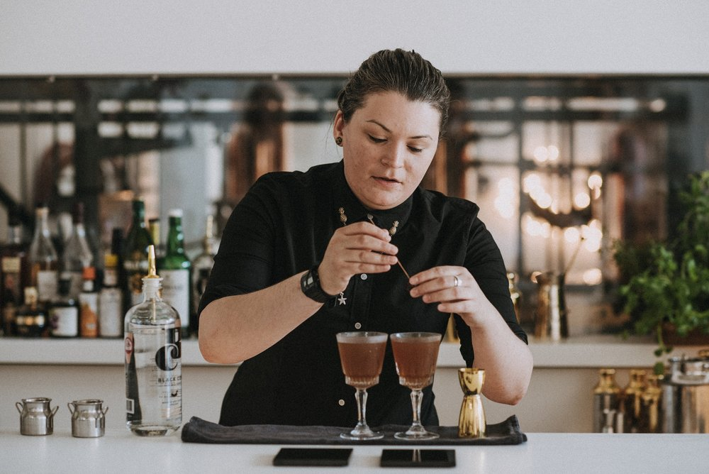 Chelsie Bailey from Bristol's Red Light cocktail bar makes her cocktail, Pure Bliss.