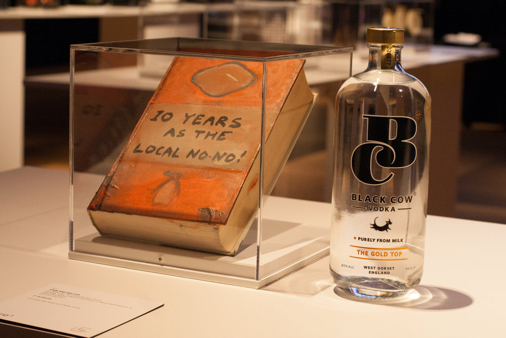 Black Cow Vodka photographed next to Harland Miller's cube.jpg