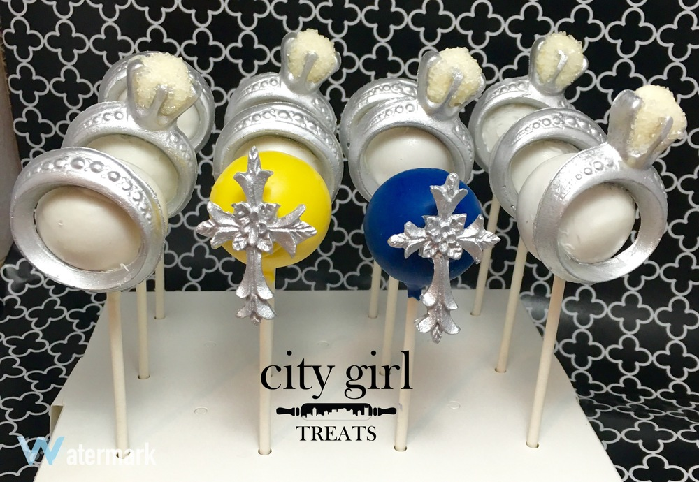 Engagement themed cake pops by Nashville based bakery City Girl Treats