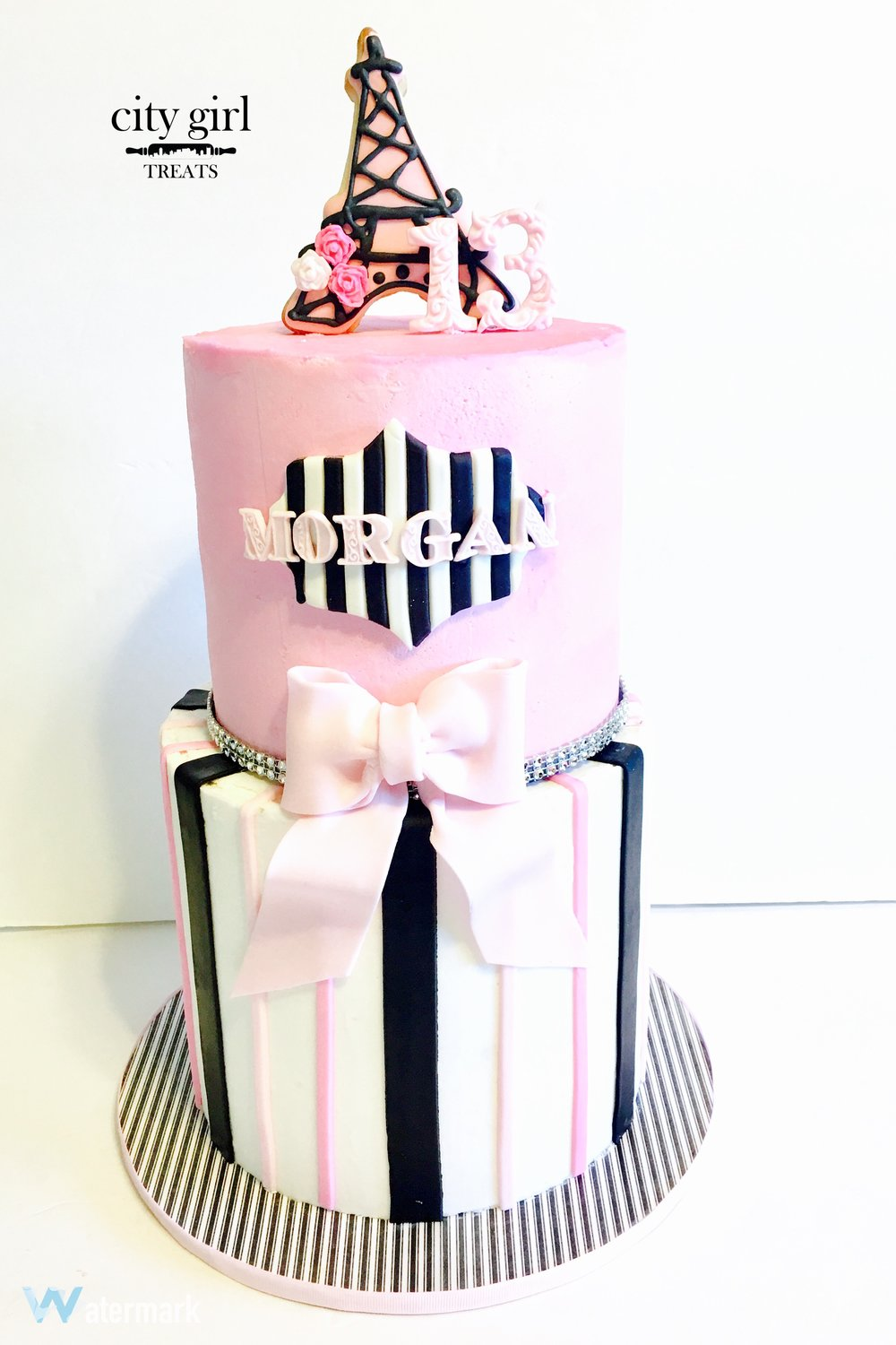 Paris themed birthday cake by Nashville TN bakery and desserts City Girl Treats