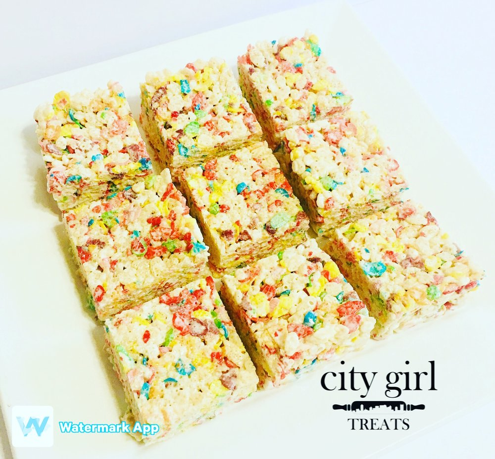 Custom Fruity Peebles Rice Krispy Treats by Nashville, TN based bakery City Girl Treats Nashville Treats