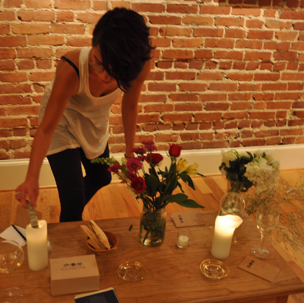 Here's our founder, Alanna, lighting a bit of sage in her row house in Washington, DC.