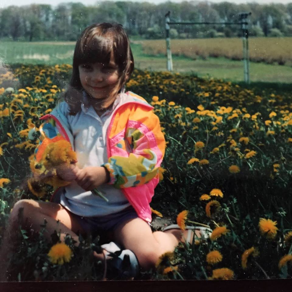 Here's me on the blueberry farm. I was a flower child from the beginning, what can I say.