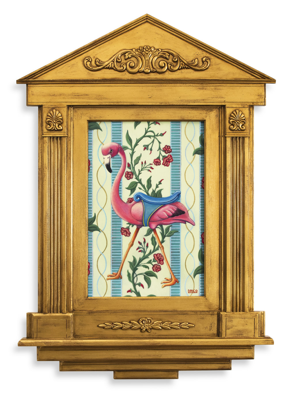 "Carousel Of Miracles #1 - acrylic on canvas, wooden frame, gold paint 26"" x 36"""