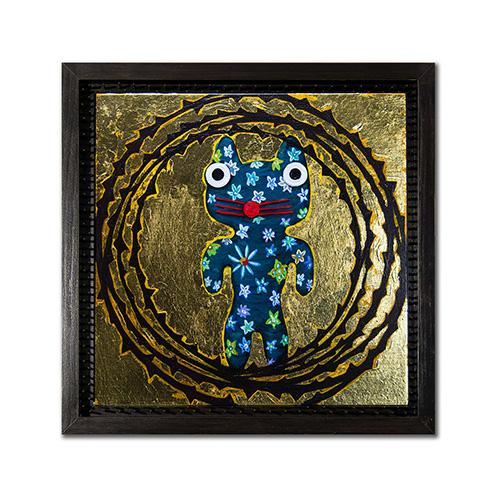 "DemiGod #1 - acrylic and gold leaf on panel 8"" x 8"""