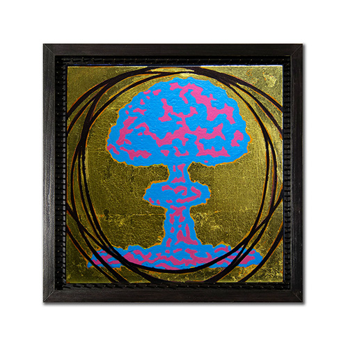 "DemiGod #2 - acrylic and gold leaf on panel 8"" x 8"""