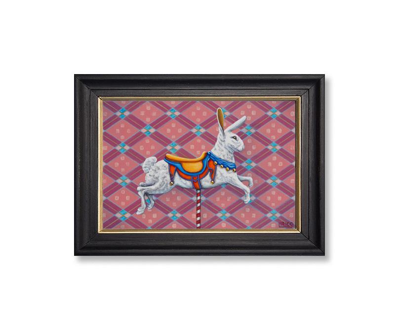 "Carousel Rabbit - acrylic on mounted canvas 12"" x 18"""
