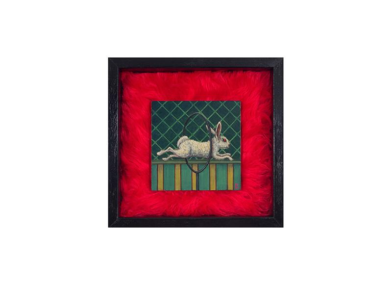 "The Brave Rabbit #2 - acrylic on canvas, faux fur 12"" x 12"""