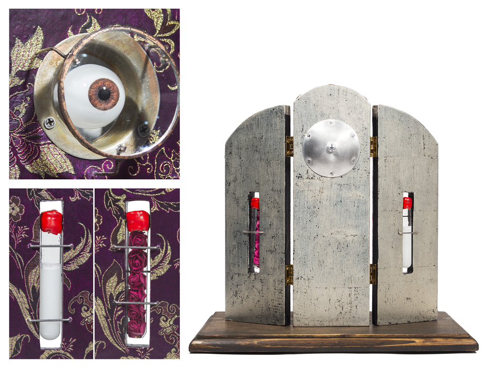 """ONE - mixed media assemblage 13"""" x 13"""" x 9"""" - details"""