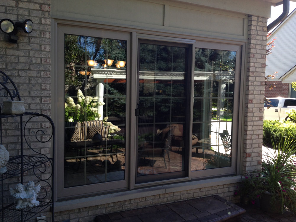 Sliding Pato Door with blinds-open