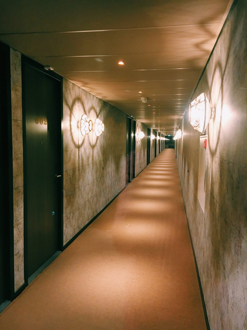 Even the lighting down the hallway to your room has been carefully matched to the design
