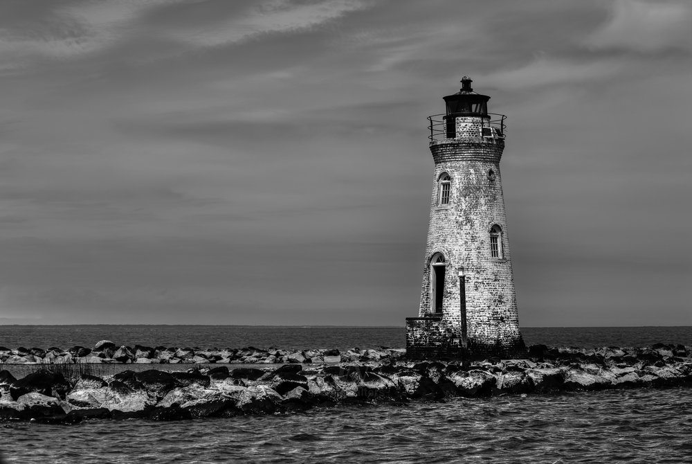 Cockspur Lighthouse in black and white.
