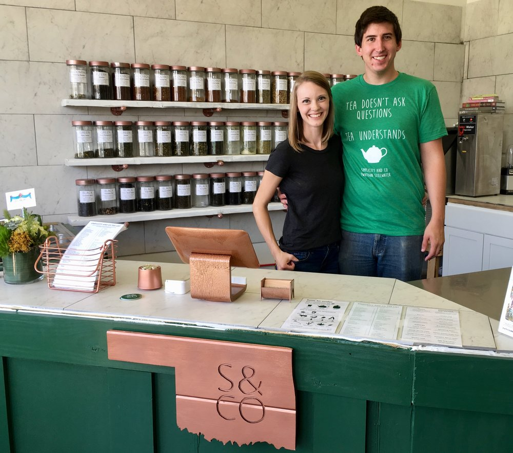 Ashley and Austin Ray in the new Simplicity and Co. Tea House downtown.