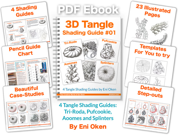 Shading Guides for four tangle patterns, by Eni Oken