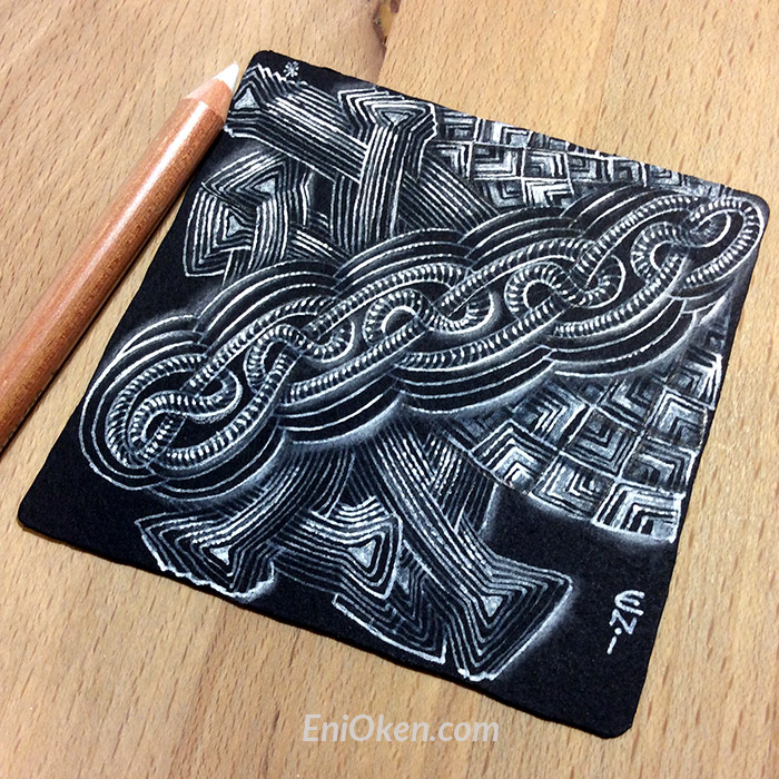 Shading black Zentangle® tiles with Eni Oken • enioken.com