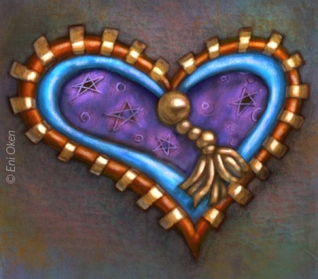 Heart on a wall digital painting by Eni Oken