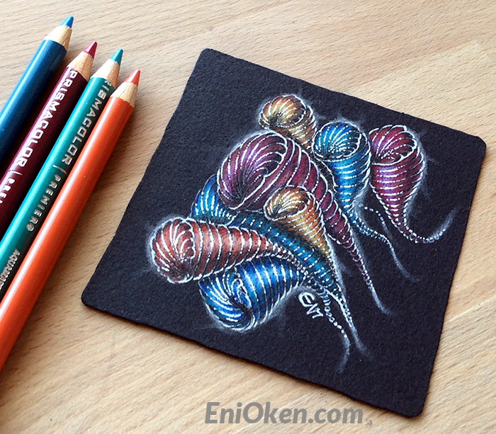 Learn how to shade black Zentangle® tiles • enioken.com
