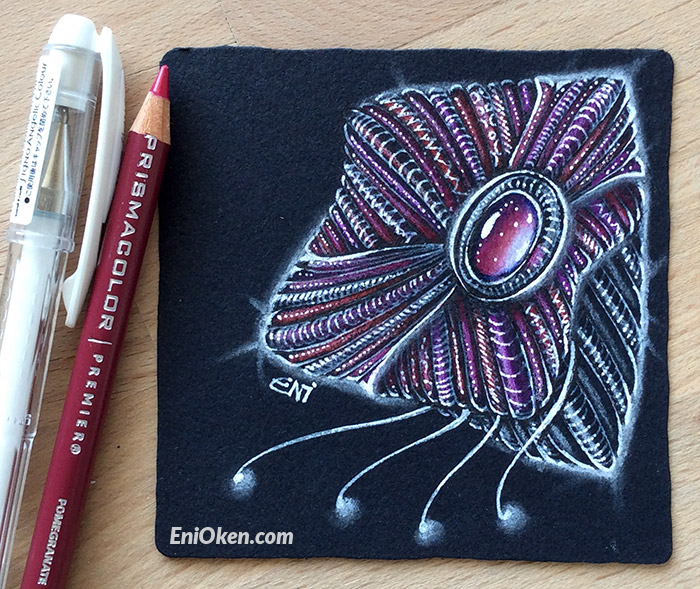 Learn how to shade over Black Zentangle® tile • enioken.com