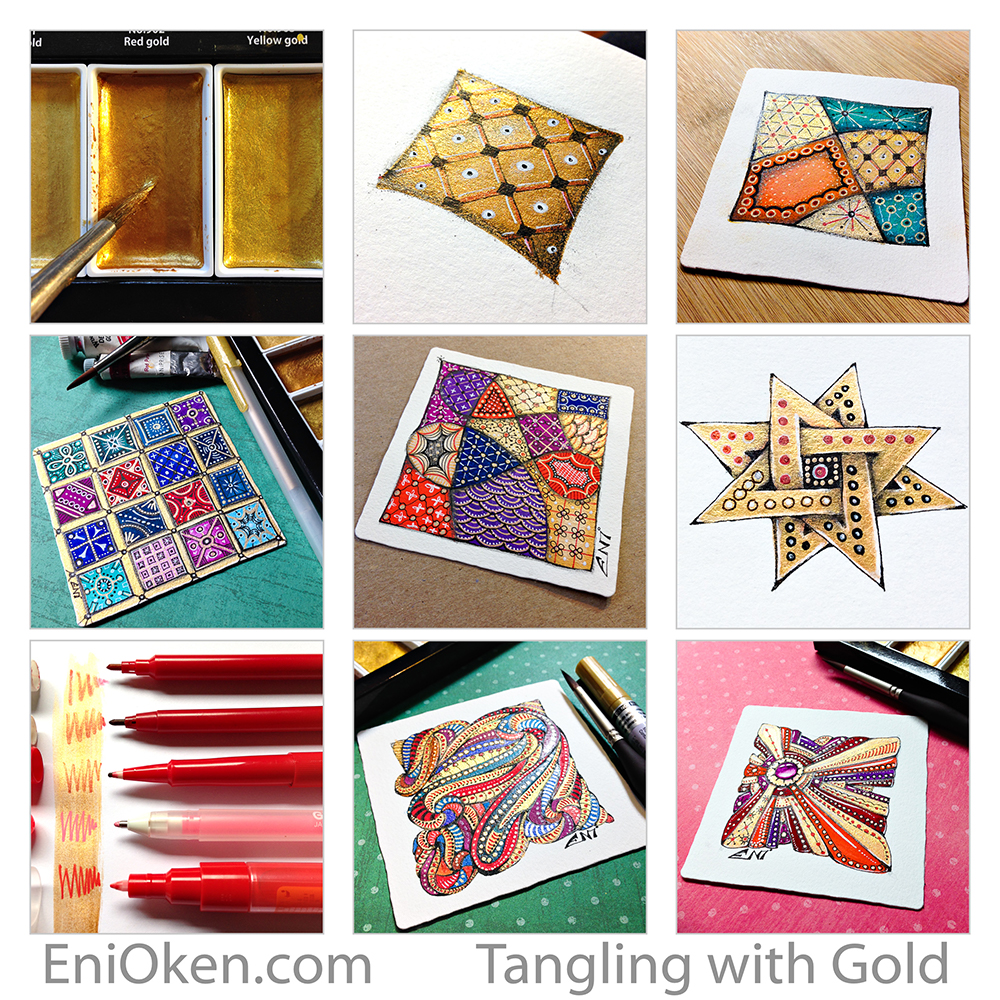 Learn how to create shimmering Zentangle with gold! • enioken.com