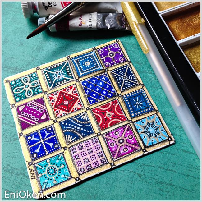Learn how to create shimmering golden Zentangle® • enioken.com