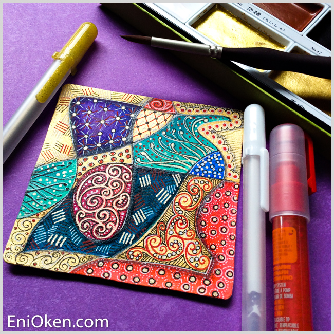 Learn how to create amazing gilded Zentangle® • enioken.com