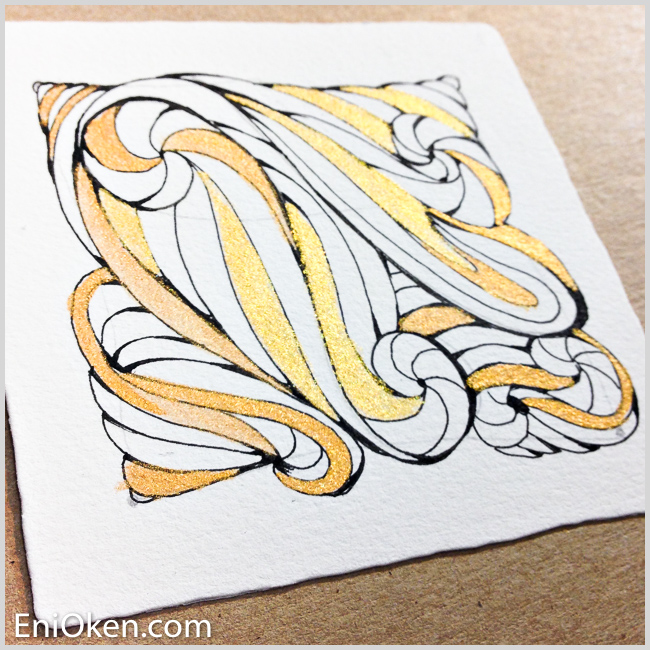 Learn to create shimmering gilded Zentangle® • enioken.com