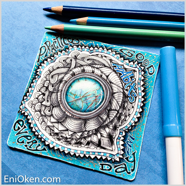 Learn how to create a gorgeous Zentangle® gem brooch • enioken.com