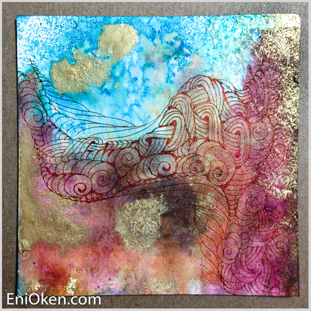 Learn how to create beautiful distressed Zentangle® • enioken.com
